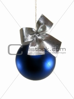 blue christmas ball with silver bruise