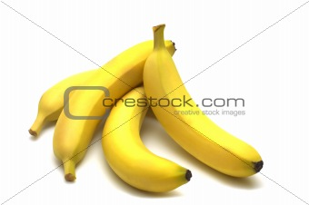 four banana on white background