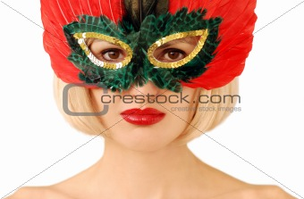 beautiful face in red mask