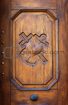 Close up detail on wooden door