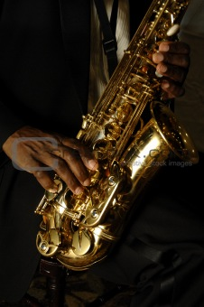 sax and hands