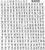 Hundreds of Japanese Kanji Characters With Translations Underneath