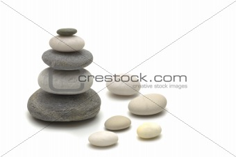 pebbles on white background