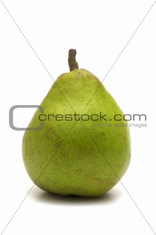 one green pear on white background