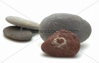 pebble with a heart sign