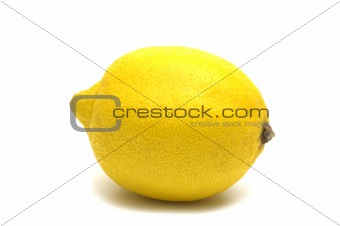 one lemon on white background