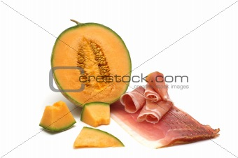 delicacy-melon and meat on white background