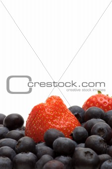 bilberry and strawberry on white background