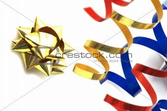 yellow streamer star on white background