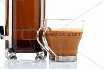 Cup and coffee pot