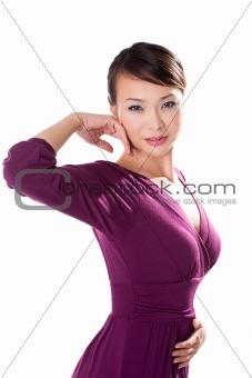 beautiful asian woman in purple dress