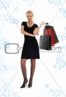 shopping blond in black dress with snowflakes #3