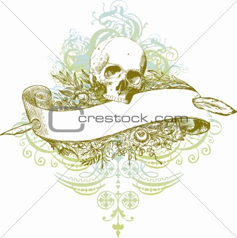 Banner skull vector illustration