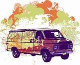Retro grunge van vector illustration
