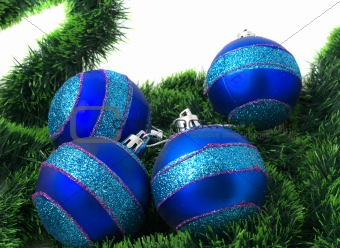 Christmas blue ornaments