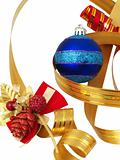 Christmas ornaments and ribbons  isolated