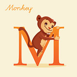 Animal alphabet with monkey
