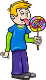 boy with lollipop cartoon illustration