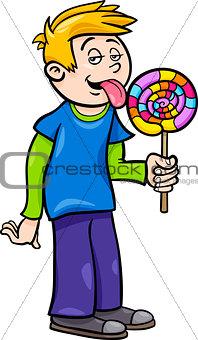 boy with lollipop cartoon illustration