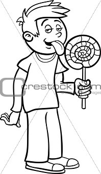 boy with lollipop cartoon for coloring
