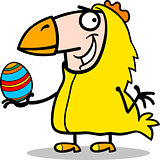 man in easter chicken costume cartoon