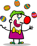cartoon clown juggling easter eggs