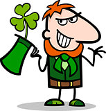 Leprechaun with clover cartoon illustration
