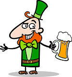 Leprechaun with beer cartoon illustration