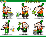 st patrick day themes set cartoon illustration