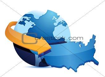 globe US map