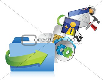 folder cloud of colorful application icons