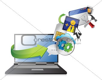 laptop and colorful application icons