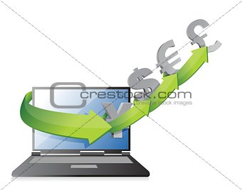 currency arrows concept on a laptop screen,