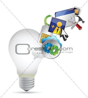 light bulb and colorful application icons