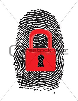 Finger Print with closed, red u-lock