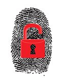 Finger Print with unlocked, red u-lock
