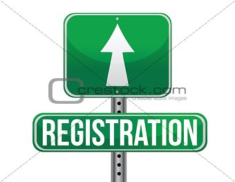 registration green traffic road sign