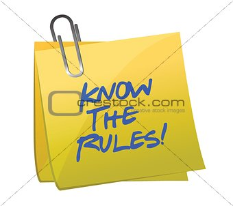 know the rules written on a post it note