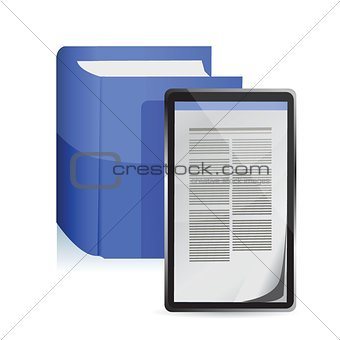 E-book reader concept. Tablet pc