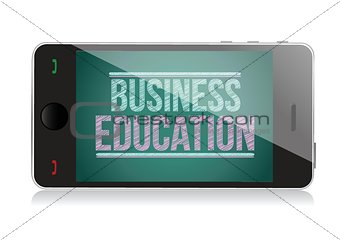 Business Education on display. Smart phone
