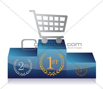 shopping cart winner's podium