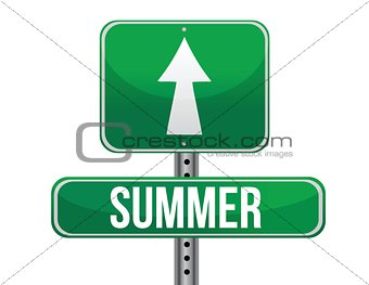 summer green traffic road sign
