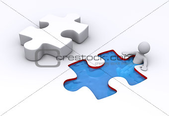 Person is inside puzzle shaped pool and puzzle piece