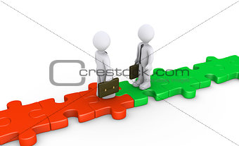 Two businessmen meet on puzzle path