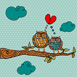 Wedding card lovely owls background
