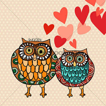 Valentine owl couple in love