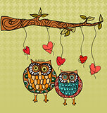 Owl love wedding card background