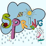 Spring raining cloud