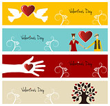 Valentine love banner set