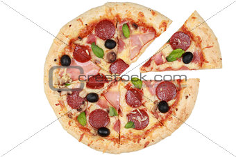 Sliced Pizza with ham, mushrooms and pepperoni